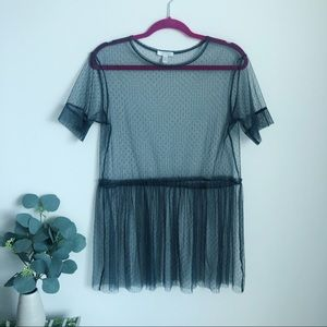 ABOUND Mesh Sheer Blouse S Gray